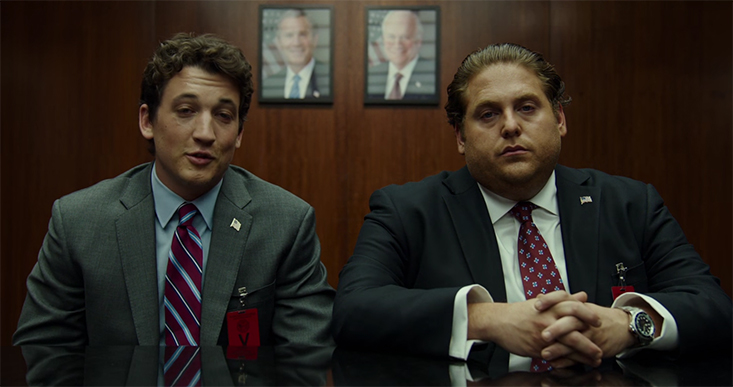 If these two look super high, that's because they are, bonus Bush and Cheney for context. War Dogs. Image Credit: Warner Bros.