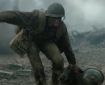 Andrew Garfield in Hacksaw Ridge. Image Credit: Lionsgate.