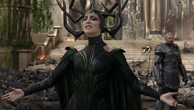 Cate Blanchett steals every scene she is in, sometimes literally. Thor: Ragnarok. Image Credit: Marvel/Disney