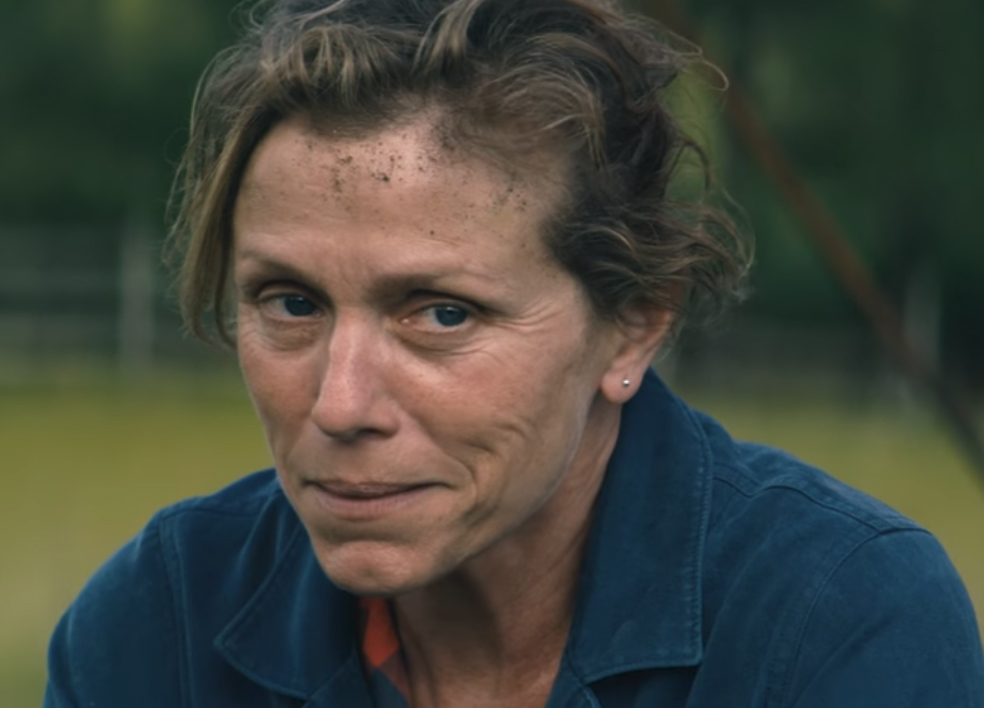Frances McDormand should win an Oscar for her performance here. Three Billboards Outside Ebbing, Missouri. Image Credit: Fox Searchlight.