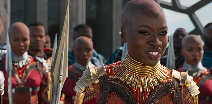 Danai Gurira shows power in every movement, every word, every staff to the side of the face, every side eye