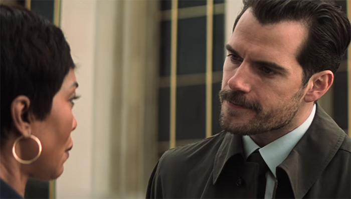 Henry Cavill also smoulders, but this time sporting a multi-million dollar moustache. Image Credit: Paramount Pictures/Bad Robot