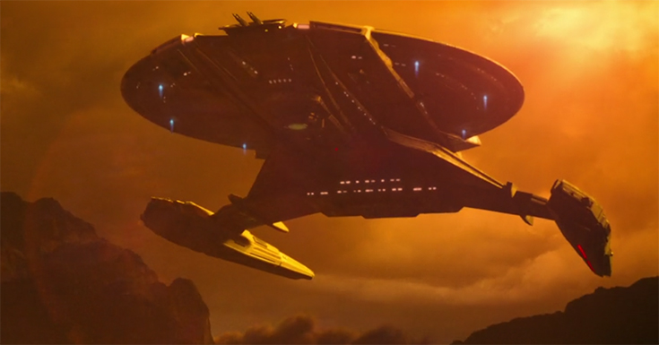 The USS Shenzhou descends from the clouds onto an alien world