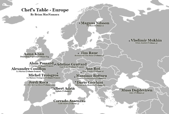 Chef's Table Europe Location Map. Image Credit: Brian MacNamara, Wiki Commons user San Jose, and Google Maps