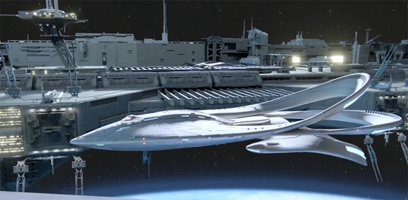 The USS Orville, is fascinatingly designed, and really helps to make an impact on the shows design language. Image Credit: 20th Century Fox & Fuzzy Door Productions.