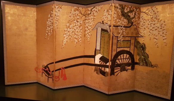 Six Fold Screen with Nobleman's Cart Under a Flowering Cherry Tree. Image Credit: QAG