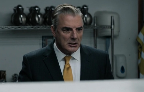 It is clear that Chris Noth is having a lot of fun playing his not-Trump-totally-Trump character. Doctor Who: Arachnids In The UK. Image Credit: BBC