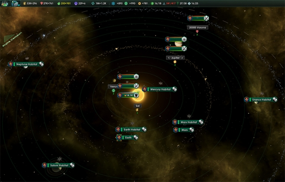 One of the areas where Stellaris shines is in all the small details, like the make up of the Sol System. Image Credit: Paradox Interactive