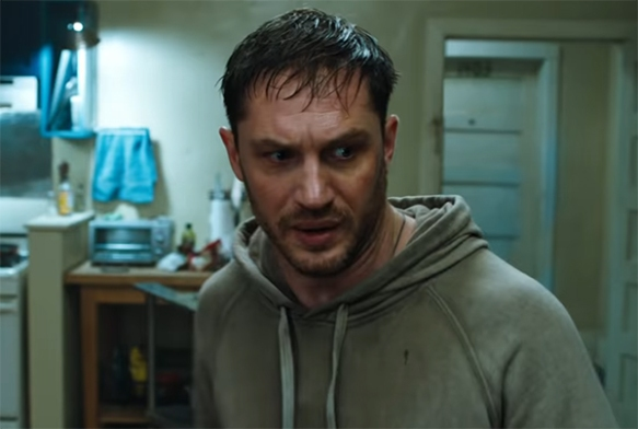 Tom Hardy throws himself into this role, and it is in here that the film has its best moments. Image Credit: Sony.