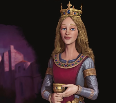 Eleanor of Aquitaine leader of France in Civilisation 6 Gathering Storm