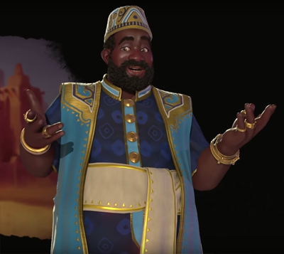 Mansa Musa from Mali in Civ 6 Gathering Storm