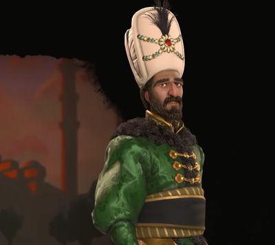 Suleiman of The Ottomans in Civilization 6 Gathering Storm. Image Credit: Firaxis Games.