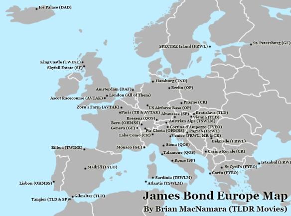 James Bond Europe Map.