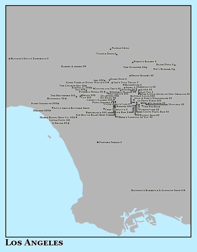 Los Angeles Map of Worth-It. Image Credit: Brian MacNamara.