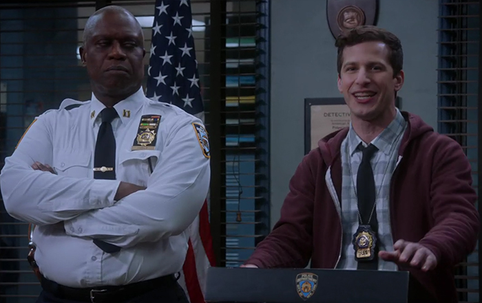 Andy Samberg & Andre Braugher in Brooklyn Nine-Nine: Cinco De Mayo. Image Credit: NBC.