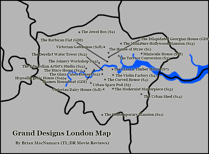 London Grand Designs Map. Image Credit: Brian MacNamara