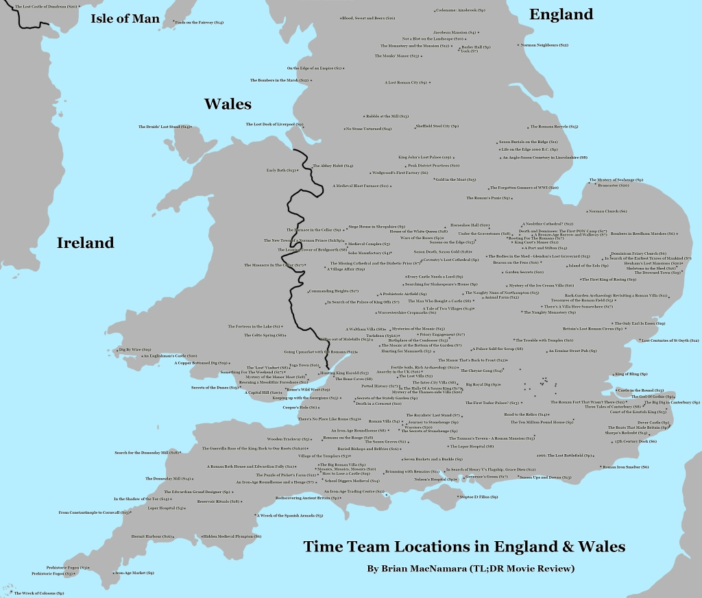 Time Team England and Wales Map. Image Credit: Brian MacNamara.