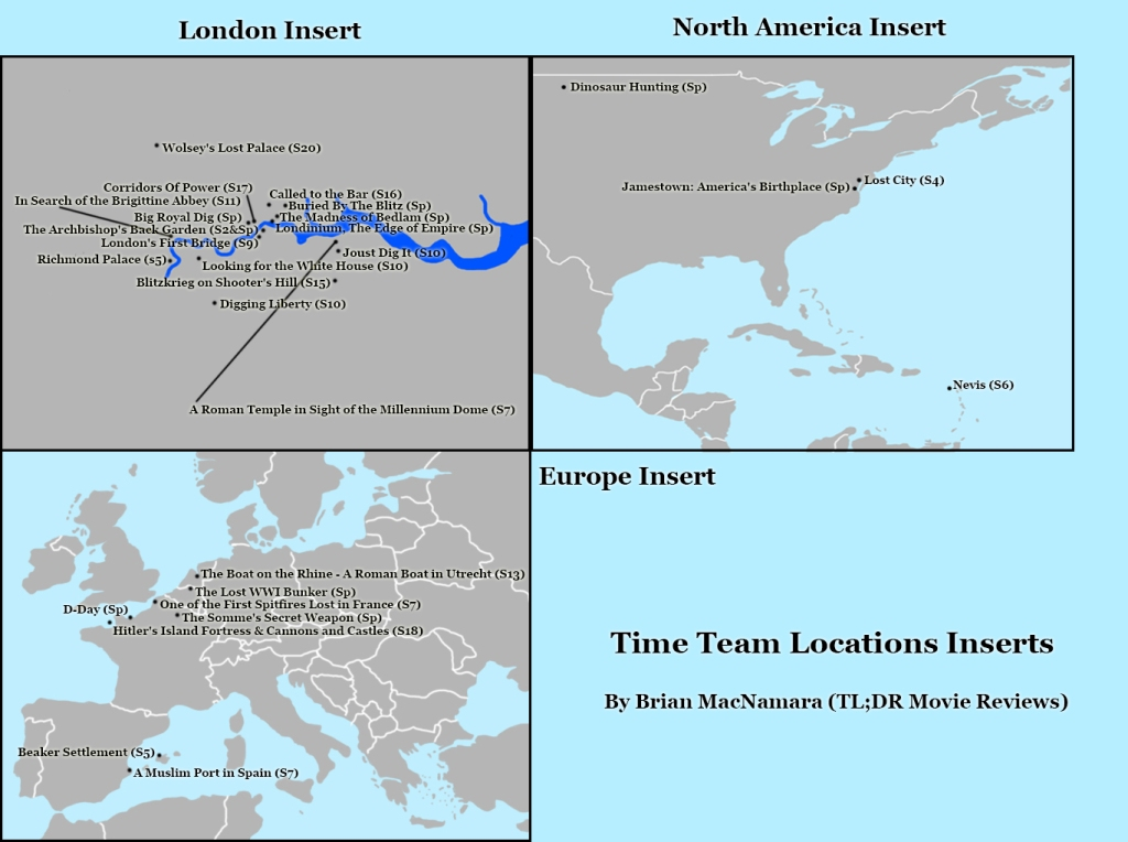 London, North America, and Europe Time Team Map. Image Credit: Brian MacNamara.