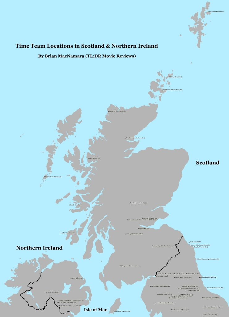 Time Team Scotland and Northern Ireland Map. Image Credit: Brian MacNamara.