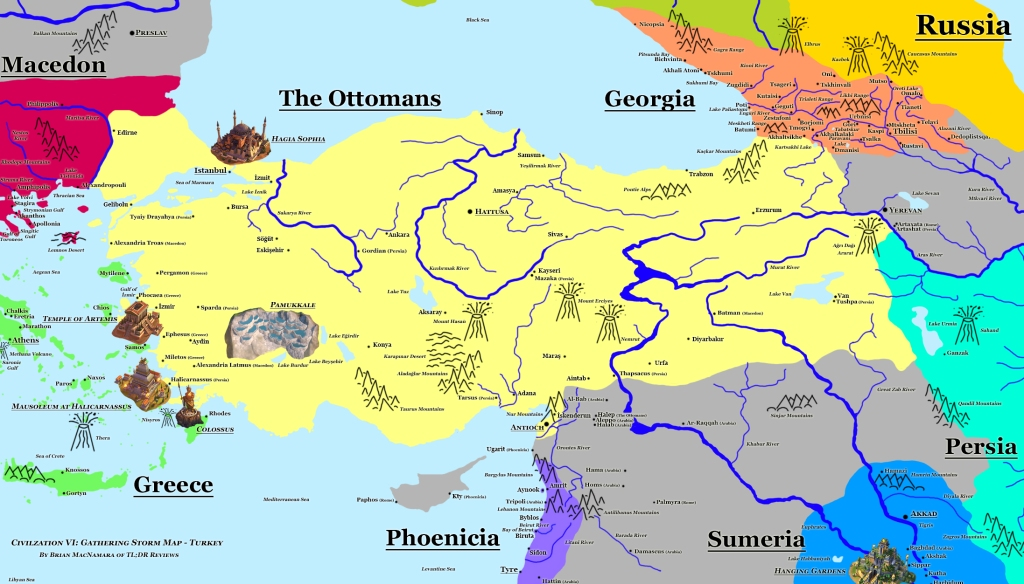 Turkey map of Civilization VI Gathering Storm featuring The Ottomans, Georgia, and Phoenicia