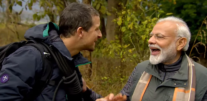 Man vs. Wild with Bear Grylls and PM Modi. Image Credit: Netflix.