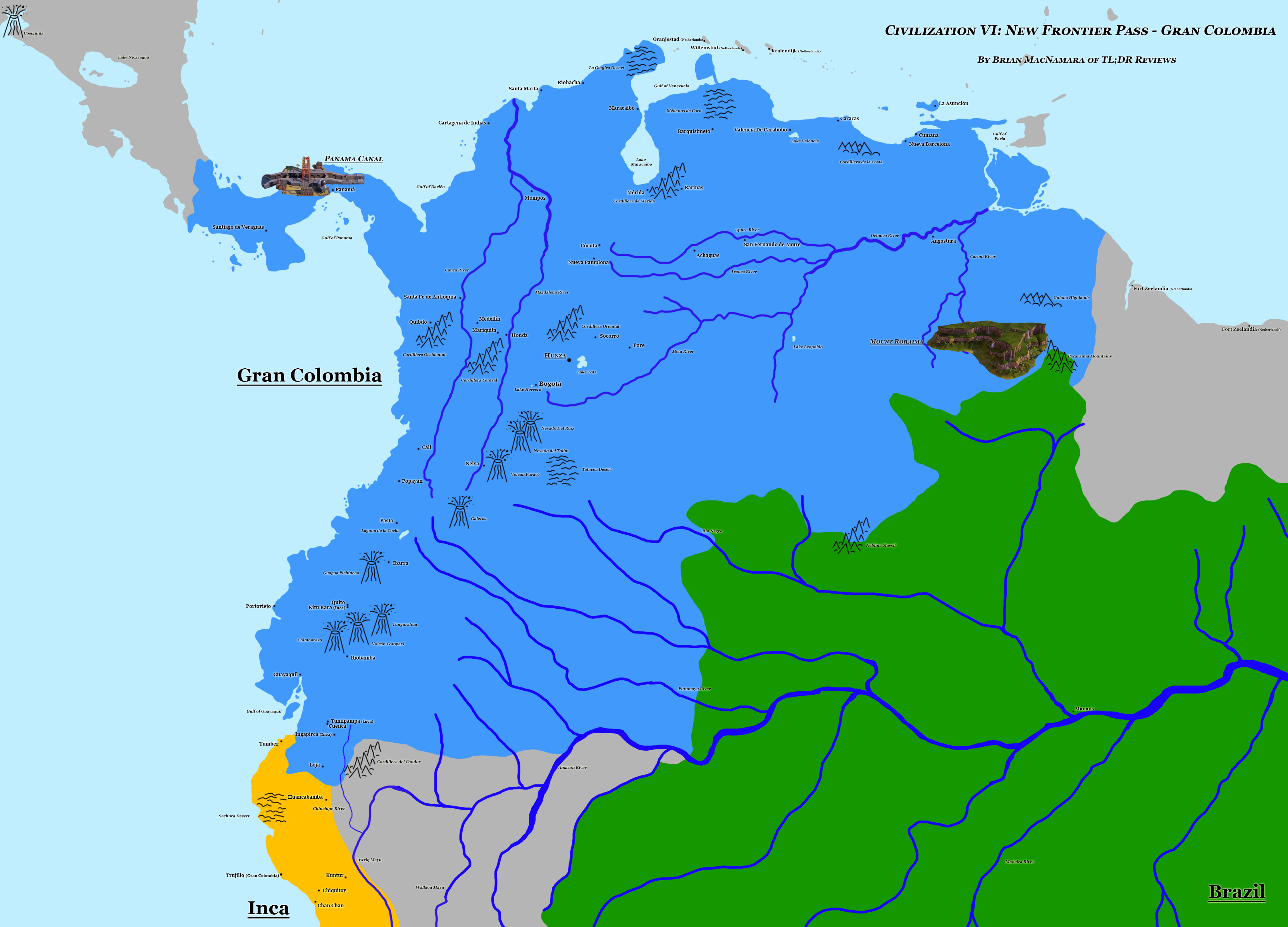 Map of Gran Colombia from Civilization VI. Image Credit: Brian MacNamara/Firaxis Games.