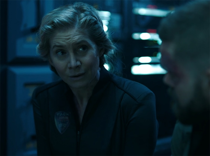 Rev. Dr. Anna Volovodov (Elizabeth Mitchell) The Expanse. Image Credit: Amazon Studios.