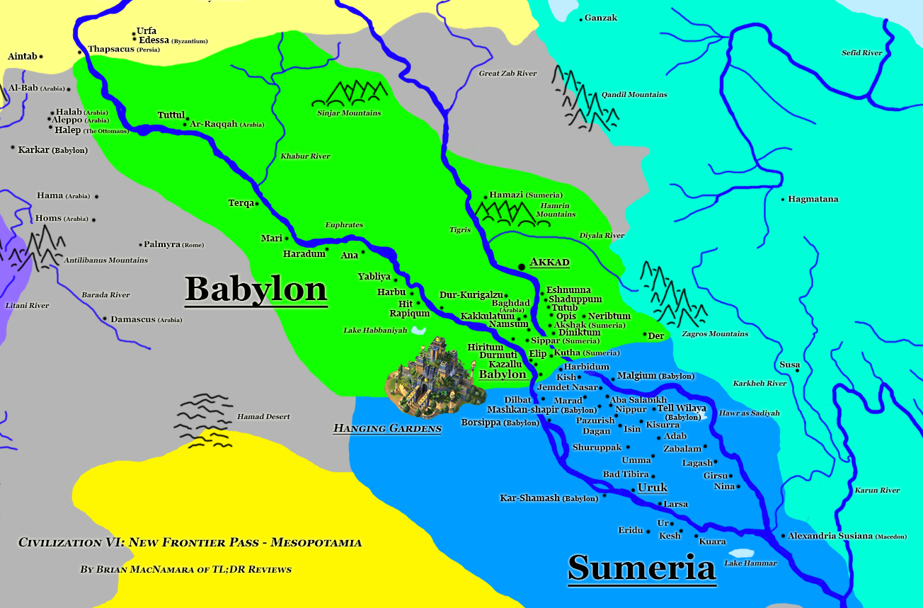 Babylon/Mesopotamia Map for Civilization VI. Image Credit: Brian MacNamara.
