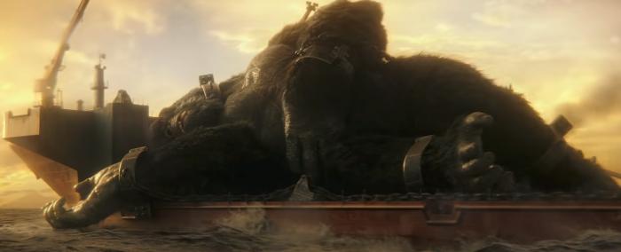 Kong on a boat in Godzilla vs. Kong. Image Credit: Warner Bros Pictures.